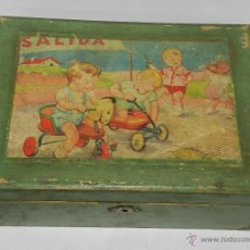 Cajas y cajitas metálicas: CAJA DE MADERA CON ILUSTRACION DE NIÑOS, PARA LABORES, COSTURERO, MIDE 22,5 X 16,5 X 8,5 CMS.. Lote 43763653
