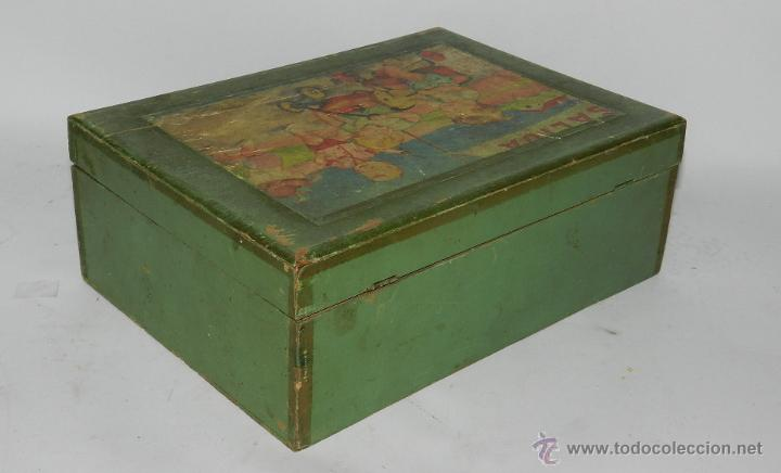Cajas y cajitas metálicas: CAJA DE MADERA CON ILUSTRACION DE NIÑOS, PARA LABORES, COSTURERO, MIDE 22,5 X 16,5 X 8,5 CMS. - Foto 2 - 43763653