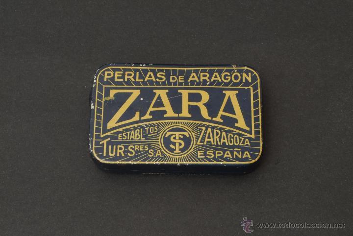 CAJA DE PASTILLAS PERLAS DE ARAGÓN. ZARA. ZARAGOZA. LITOGRAFÍA G. DE ANDREIS. M. E. BADALONA. (Coleccionismo - Cajas y Cajitas Metálicas)