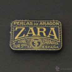 Cajas y cajitas metálicas: CAJA DE PASTILLAS PERLAS DE ARAGÓN. ZARA. ZARAGOZA. LITOGRAFÍA G. DE ANDREIS. M. E. BADALONA.. Lote 44017103