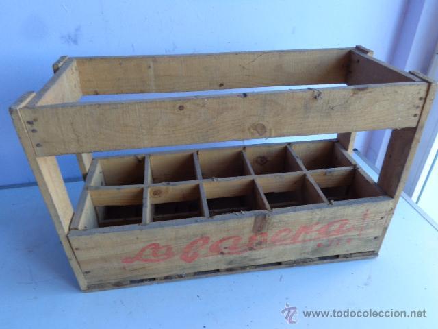 antigua rara y preciosa caja de madera de gaseosasla completa y buen estado