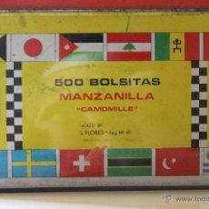 Cajas y cajitas metálicas: CAJA 500 BOLSITAS MANZANILLA CABALLO BLANCO SANCHEZ FLORES MANZANILLA ESPINARDO MURCIA. Lote 44921461