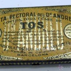 Cajas y cajitas metálicas: CAJA FARMACIA MEDICINA PASTA PECTORAL TOS DR ANDREU BARCELONA. Lote 45262299