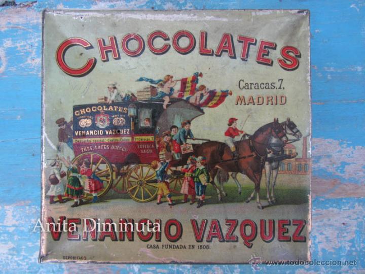 ANTIGUA LATA DE HOJALATA LITOGRAFIADA - CHOCOLATES - VENANCIO VAZQUEZ - MADRID - PRINCIPIOS DE SIGLO (Coleccionismo - Cajas y Cajitas Metálicas)