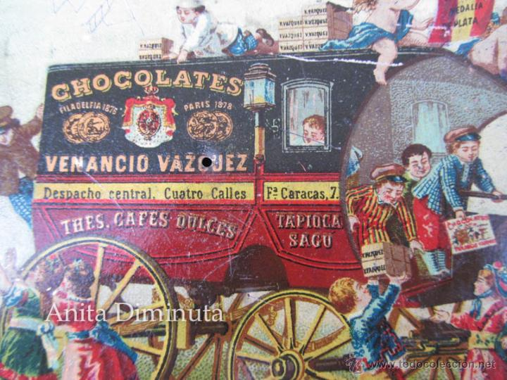 Cajas y cajitas metálicas: ANTIGUA LATA DE HOJALATA LITOGRAFIADA - CHOCOLATES - VENANCIO VAZQUEZ - MADRID - PRINCIPIOS DE SIGLO - Foto 2 - 45895557