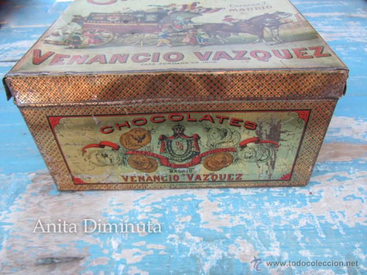 Cajas y cajitas metálicas: ANTIGUA LATA DE HOJALATA LITOGRAFIADA - CHOCOLATES - VENANCIO VAZQUEZ - MADRID - PRINCIPIOS DE SIGLO - Foto 3 - 45895557