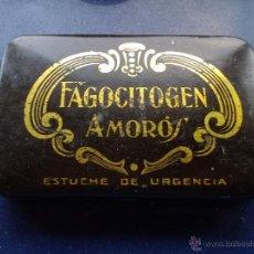 Cajas y cajitas metálicas: RARA CAJA ANTIGUA HOJALATA FAGOCITOGEN AMOROS ALCOY VALENCIA ESTUCHE DE URGENCIA. Lote 46077094