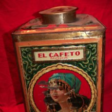 Cajas y cajitas metálicas: ANTIGUA Y GIGANTE CAJA HOJALATA LITOGRAFIADA EL CAFETO SIMON MARTINEZ MADRID. Lote 46297523