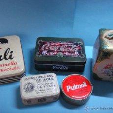 Cajas y cajitas metálicas: LOTE DE 5 LATAS VARIADAS. COCACOLA, LA PASTICCA DEL RE SOLE (1962), LILI, BOMBONERA DE LATA ANTIGUA.. Lote 46364035