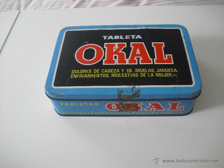 ANTIGUA CAJA DE METAL OKAL, TABLETAS. DE 22,5 X 15 CM. PASTILLAS, TABLETA OKAL CONTRA EL DOLOR. LATA (Coleccionismo - Cajas y Cajitas Metálicas)