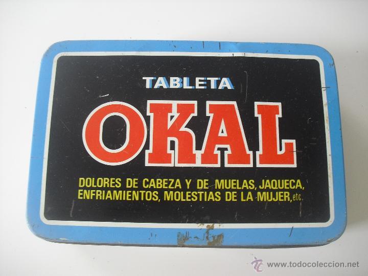 Cajas y cajitas metálicas: Antigua caja de metal OKAL, Tabletas. De 22,5 x 15 cm. Pastillas, tableta OKAL contra el dolor. Lata - Foto 2 - 46492449