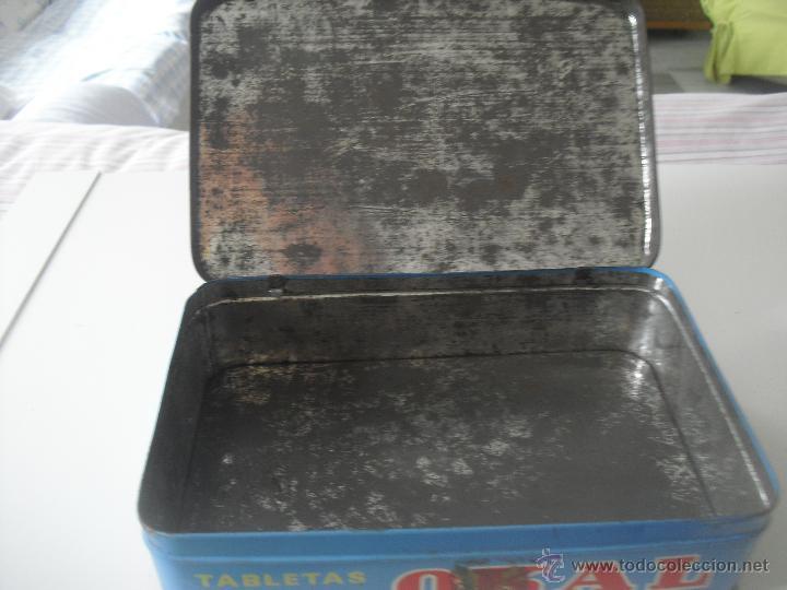 Cajas y cajitas metálicas: Antigua caja de metal OKAL, Tabletas. De 22,5 x 15 cm. Pastillas, tableta OKAL contra el dolor. Lata - Foto 3 - 46492449