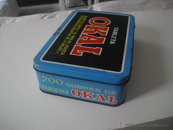 Cajas y cajitas metálicas: Antigua caja de metal OKAL, Tabletas. De 22,5 x 15 cm. Pastillas, tableta OKAL contra el dolor. Lata - Foto 4 - 46492449
