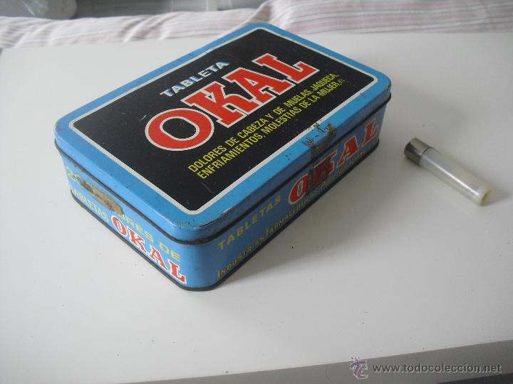 Cajas y cajitas metálicas: Antigua caja de metal OKAL, Tabletas. De 22,5 x 15 cm. Pastillas, tableta OKAL contra el dolor. Lata - Foto 5 - 46492449