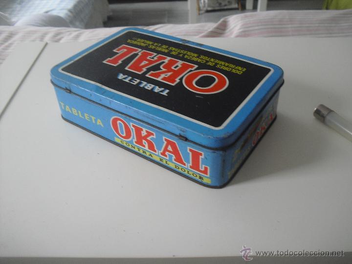 Cajas y cajitas metálicas: Antigua caja de metal OKAL, Tabletas. De 22,5 x 15 cm. Pastillas, tableta OKAL contra el dolor. Lata - Foto 6 - 46492449