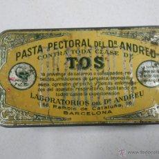 Cajas y cajitas metálicas: ANTIGUA CAJA PASTA PECTORAL DEL DR. ANDREU CONTRA TODA CLASE DE TOS. BARCELONA. Lote 46790341