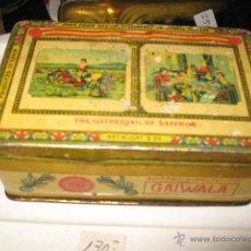 Cajas y cajitas metálicas: CURIOSA CAJA METALICA SERIGRAFIA EN INGLES PRODUCED IN SPAIN - SANTANDER - GAIWALA - 5 X 8 X 13 CM.. Lote 46999462