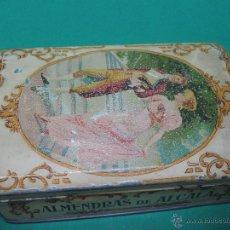 Cajas y cajitas metálicas: ANTIGUA CAJA DE HOJA DE LATA LITOGRAFIADA ALMENDRAS DE ALCALA DE HENARES CONFITERIA SALINAS. I. Lote 47081696