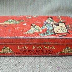 Cajas y cajitas metálicas: CAJA DE DULCE DE MEMBRILLO - LA FAMA - VDA. DE F.CHACON CASTUERA, PUENTE GENIL. Lote 47097434