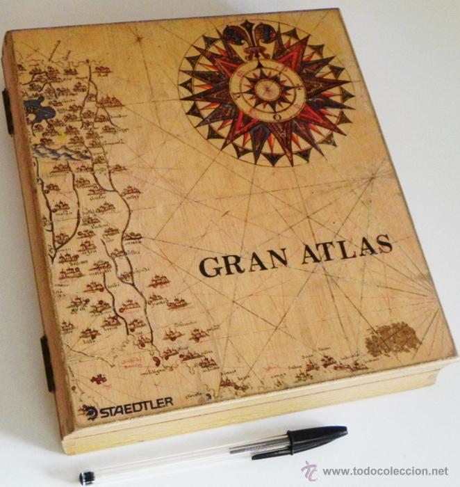 caja de madera staedtler gran atlas vaca dibujo de mapa y rosa de