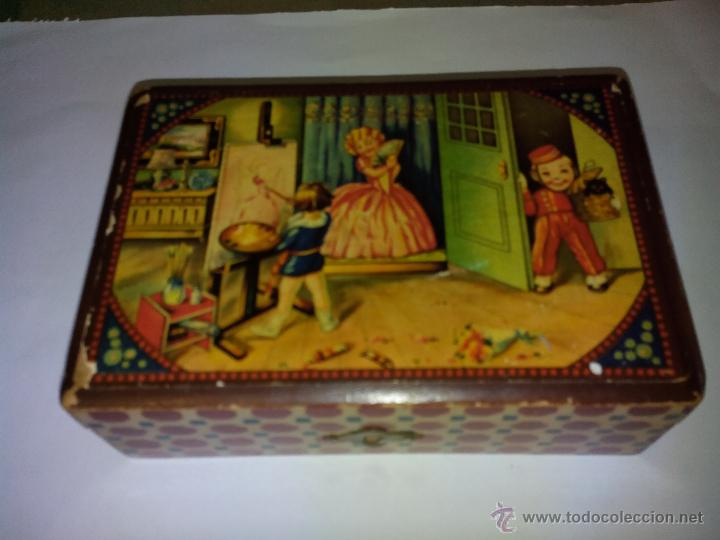 antigua caja de madera peinador o costurero