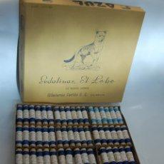 Cajas y cajitas metálicas: CAJA DE HILOS EL LOBO SEDALINAS HILATURAS CORTES DE VALENCIA // AÑOS 50 MERCERÍA. Lote 47915280