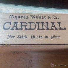 Cajas y cajitas metálicas: ANTIGUA CAJA DE MADERA DE PUROS CIGARRES WEBER & CO. CARDINAL. VINTAGE. Lote 47884556