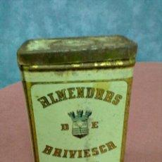 Cajas y cajitas metálicas: LATA CHAPA ALMENDRAS DE BRIVIESCA. Lote 47971268