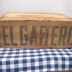 Cajas y cajitas metálicas: ANTIGUA CAJA DE MADERA SIDRA EL GAITERO VER IMAGENES Y DETALLE. Lote 48102994