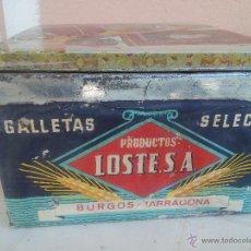 Cajas y cajitas metálicas - Antigua caja de lata de galletas LOSTE.S.A. BURGOS TARRAGONA.La tapa no es la suya pero muy bonita. - 48213343