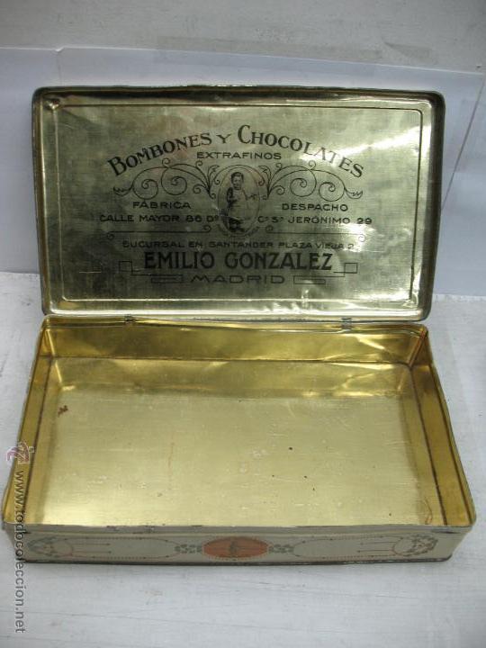 Cajas y cajitas metálicas: Antigua caja metálica Emilio González Madrid - Foto 5 - 48381370