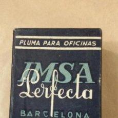 Cajas y cajitas metálicas: CAJA DE PLUMILLAS IMSA PERFECTA BARCELONA. PRECINTADA. Lote 48500529