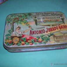 Cajas y cajitas metálicas: ANTIGUA CAJA DE HOJALATA ANTONIO JURADO GALVEZ. Lote 48638319