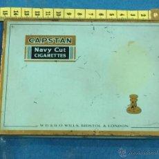 Cajas y cajitas metálicas: CAPSTAN. NAVY CUT. CIGARETTES. WILS. BRISTOL & LONDON. ANTIGUA CAJA DE HOJALATA LITOGRAFIADA.. Lote 48757752