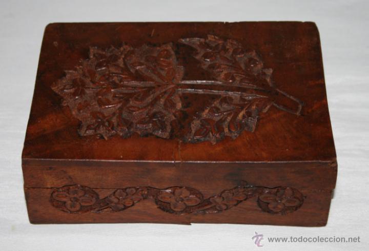 Cajas y cajitas metálicas: CAJA VINTAGE DE MADERA TALLADA - Foto 2 - 48863442