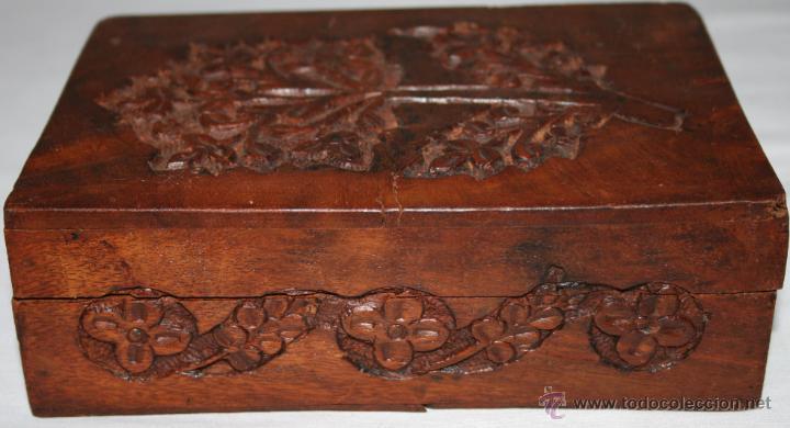 Cajas y cajitas metálicas: CAJA VINTAGE DE MADERA TALLADA - Foto 3 - 48863442