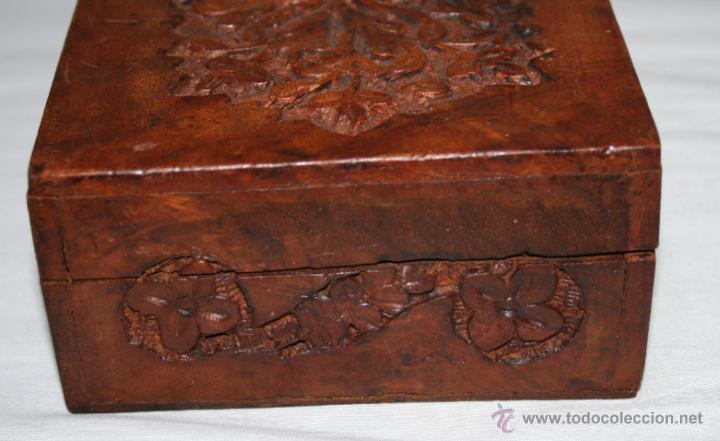 Cajas y cajitas metálicas: CAJA VINTAGE DE MADERA TALLADA - Foto 4 - 48863442