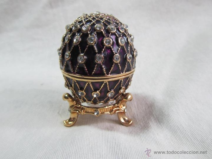 Cajas y cajitas metálicas: Caja en forma de huevo. Huevo de colección lacado de vidrio - Foto 2 - 48890401