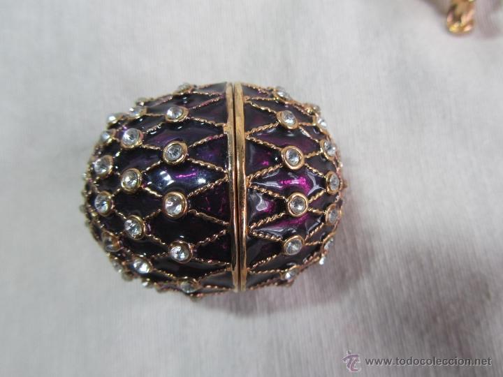 Cajas y cajitas metálicas: Caja en forma de huevo. Huevo de colección lacado de vidrio - Foto 5 - 48890401