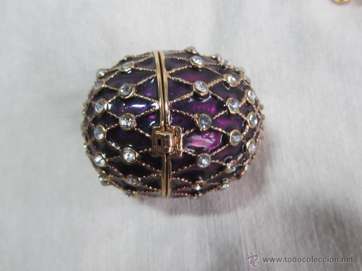 Cajas y cajitas metálicas: Caja en forma de huevo. Huevo de colección lacado de vidrio - Foto 6 - 48890401