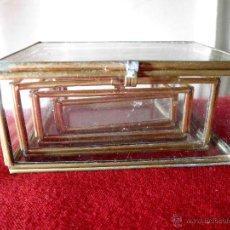 Cajas y cajitas metálicas: CONJUNTO DE 4 CAJAS DE VIDRIO EMPLOMADO. Lote 48937227