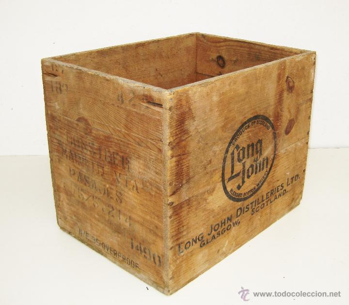 caja antigua madera botellas wiskhy antigua long jhon scotch glasgow decoracion industrial o pub cajas