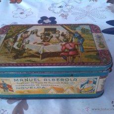 Cajas y cajitas metálicas: ANTIGUA LATA DE AZAFRAN , MANUEL ALBEROLA, NOVELDA.. Lote 49157444