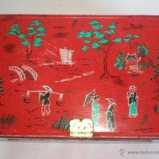 Cajas y cajitas metálicas: CAJA METÁLICA COLA-CAO, 1500 GR. ROJA, LABORES, MOTIVOS CHINOS. Lote 49217843