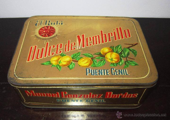 CAJA METÁLICA DE DULCE DE MEMBRILLO, ELRUBÍ, PUENTE GENIL (Coleccionismo - Cajas y Cajitas Metálicas)