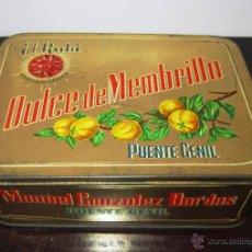 Cajas y cajitas metálicas: CAJA METÁLICA DE DULCE DE MEMBRILLO, ELRUBÍ, PUENTE GENIL. Lote 49275068