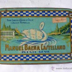 Cajas y cajitas metálicas: CAJA DE LATA DE JALEA DE MEMBRILLO DE MANUEL BAENA CASTELLANO. Lote 49275167