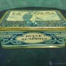 Cajas y cajitas metálicas: CAJA LATA MEMBRILLO LA FAMA CHACON HERMANOS PUENTE GENIL. Lote 49291547