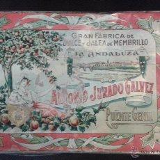 Cajas y cajitas metálicas: CAJA DE GRAN FÁBRICA MEMBRILLO LA ANDALUZA. ANTONIO JURADO GALVEZ. PUENTE GENIL. CÓRDOBA. . Lote 49339544