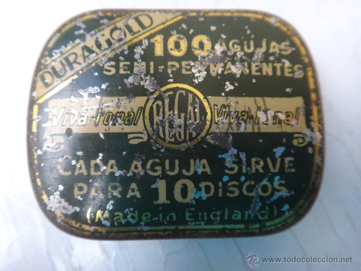 CAJA O CAJITA METAL , PUBLICIDAD AGUJAS GRAMOFONO SIN AGUJAS DURAGOL , ORIGINAL (Coleccionismo - Cajas y Cajitas Metálicas)